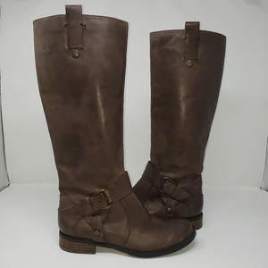 4b69a5c70ddc0 Nine West brown leather riding boots